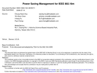 Power Saving Management for IEEE 802.16m