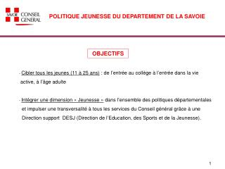 POLITIQUE JEUNESSE DU DEPARTEMENT DE LA SAVOIE