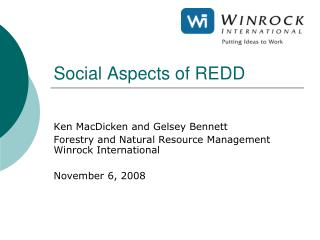 Social Aspects of REDD