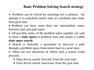 Basic Problem Solving Search strategy