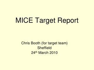 MICE Target Report