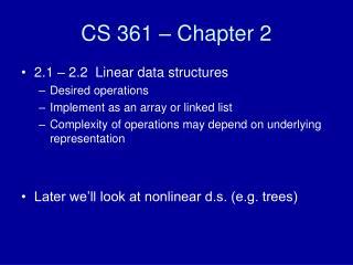 CS 361 – Chapter 2