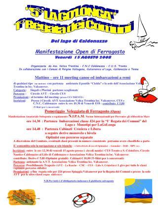 Del lago di Caldonazzo Manifestazione Open di Ferragosto Venerdì  15 AGOSTO 2008