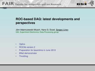 ROC-based DAQ: latest developments and perspectives