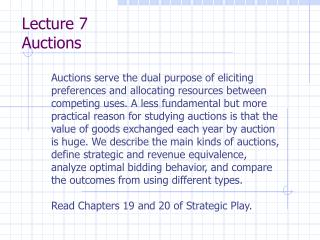 Lecture 7 Auctions