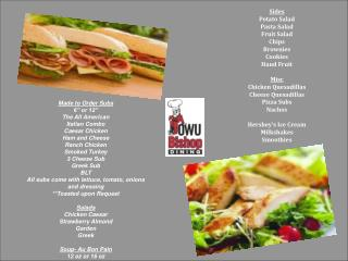 "Made to Order Subs 6"" or 12"" The All American Italian Combo Caesar Chicken Ham and Cheese"