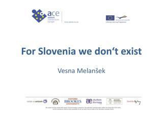 For Slovenia we  don't  exist Vesna Melanšek