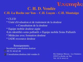 C. H. D. Vendée C.H. La Roche sur Yon – C.H. Luçon – C.H. Montaigu
