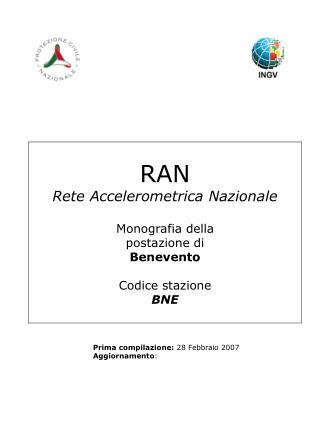 RAN Rete Accelerometrica Nazionale Monografia della postazione di Benevento Codice stazione BNE