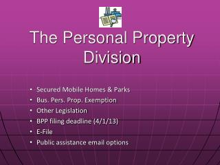 The Personal Property Division