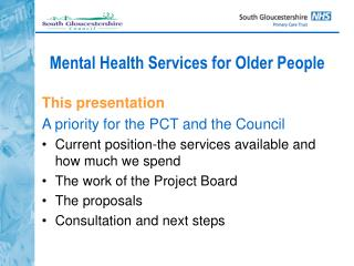 Mental Health Services for Older People