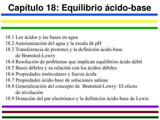 Capítulo 18: Equilibrio ácido-base