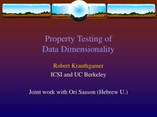 Property Testing of  Data Dimensionality