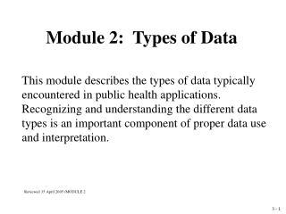 Module 2:  Types of Data