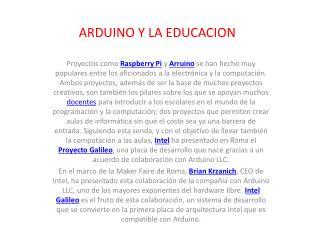 ARDUINO Y LA EDUCACION