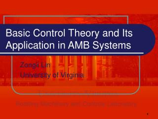 Basic Control Theory and Its Application in AMB Systems