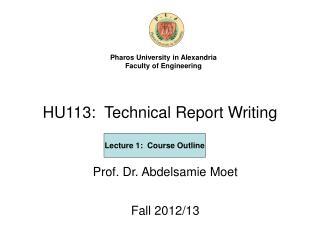 HU113:  Technical Report Writing
