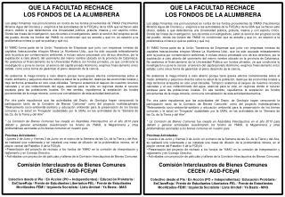 QUE LA FACULTAD RECHACE LOS FONDOS DE LA ALUMBRERA