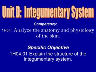 Competency :	 1H04.   Analyze the anatomy and physiology of the skin . Specific Objective