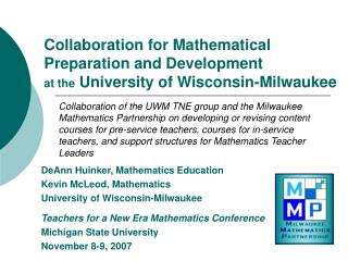 Collaboration for Mathematical Preparation and Development  at the University of Wisconsin-Milwaukee
