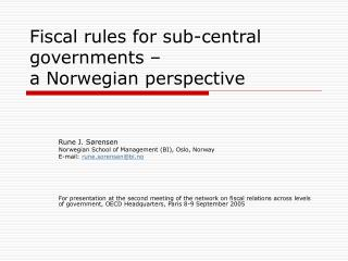 Fiscal  rules for sub-central governments – a Norwegian perspective
