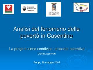 Analisi del fenomeno delle povertà in Casentino