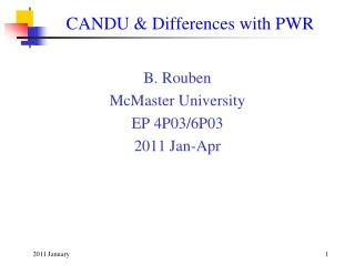 CANDU & Differences with PWR
