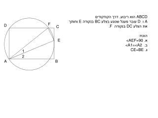 ABCD  הוא ריבוע. דרך הקודקודים A  ו  D   עובר מעגל שנוגע בצלע  BC  בנקודה  E  וחותך