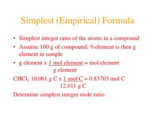 Simplest (Empirical) Formula