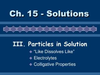 Ch. 15 - Solutions