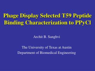 Phage Display Selected T59 Peptide Binding Characterization to PPyCl
