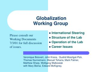 Globalization  Working Group