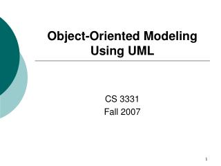 Object-Oriented Modeling Using UML