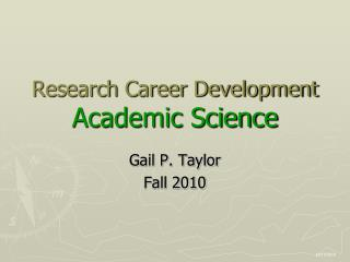 Research Career Development Academic Science