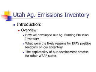 Utah Ag. Emissions Inventory