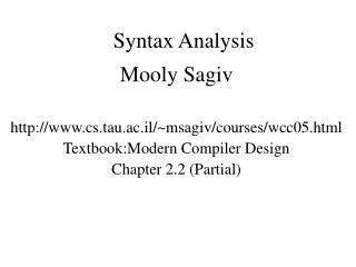 Syntax Analysis