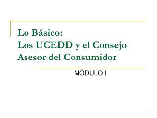 Lo Básico:  Los UCEDD y el Consejo Asesor del Consumidor