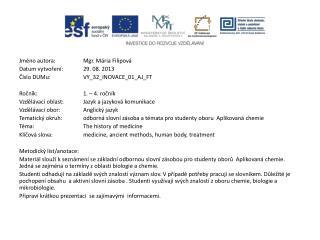 Jméno autora: Mgr. Mária Filipová Datum vytvoření:29. 08. 2013