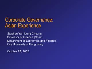Corporate Governance: Asian Experience