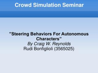 Crowd Simulation Seminar