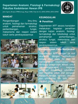 Departemen Anatomi, Fisiologi & Farmakologi Fakultas Kedokteran Hewan IPB