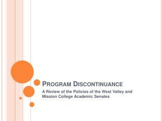 Program Discontinuance