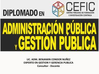 LIC. ADM. BENJAMIN CONDOR NUÑEZ EXPERTO EN GESTION Y GERENCIA PUBLICA Consultor  - Docente