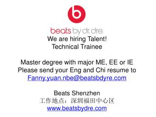 We are hiring Talent!  Technical Trainee Master degree with major ME, EE or IE