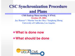 CSC Synchronization Procedure and Plans
