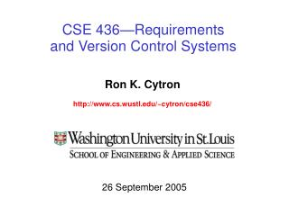 CSE 436—Requirements  and Version Control Systems
