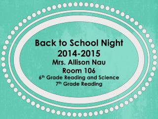 Back to School Night 2014-2015