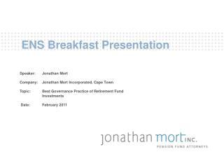 ENS Breakfast Presentation