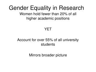 Gender Equality in Research
