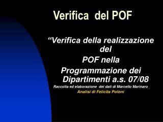 Verifica  del POF